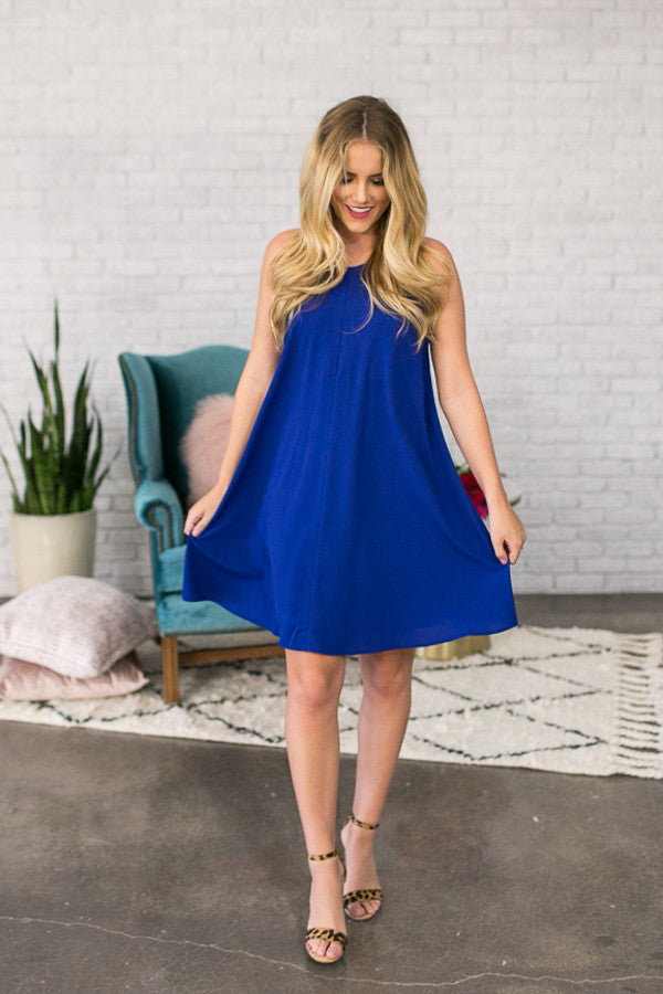 Southern Sipping Shift Dress In Royal Blue