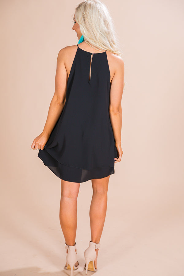 Friday Night Sights Shift Dress in Black