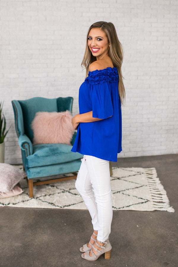 Roll With It Off Shoulder Tunic In Royal Blue