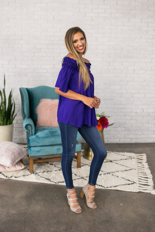 Roll With It Off Shoulder Tunic In Purple
