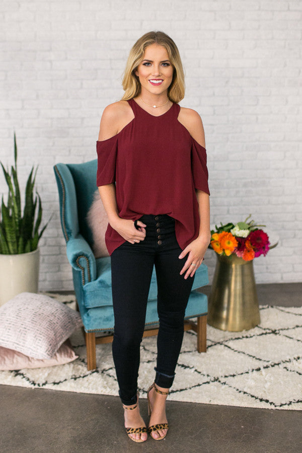Cabernet and Sway Cold Shoulder Top in Wine