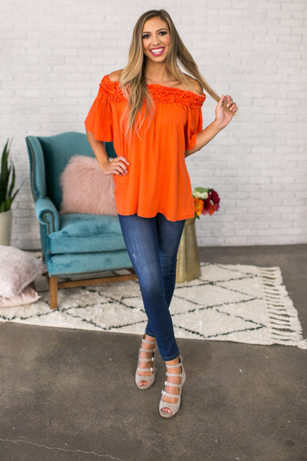 Roll With It Off Shoulder Tunic In Persimmon