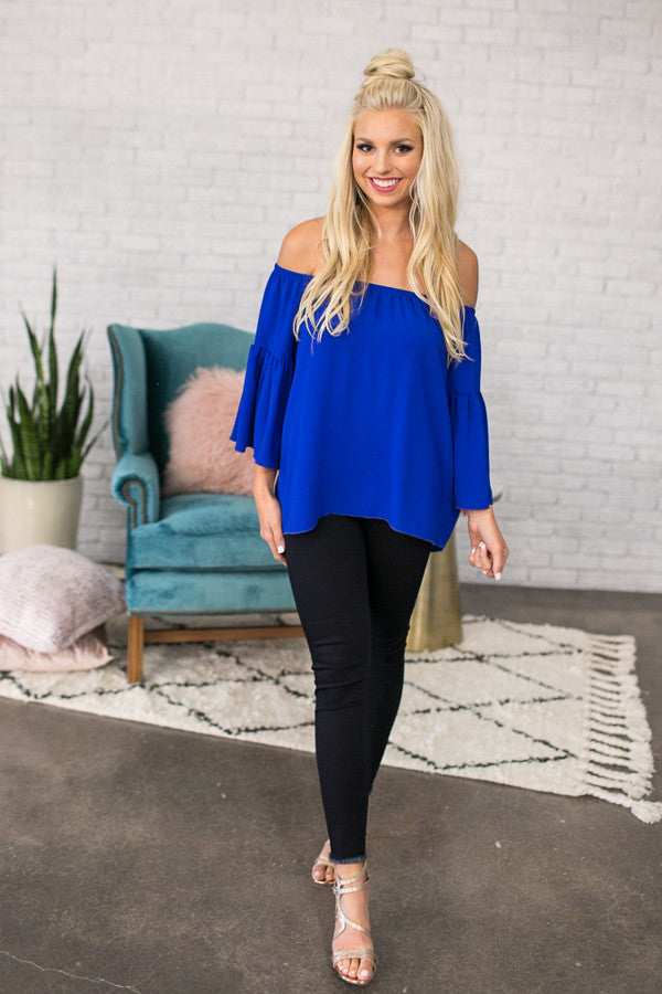 bd5cbfbe3e25 Cheering For You Off Shoulder Top in Royal Blue • Impressions Online  Boutique