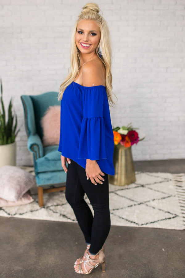 Cheering For You Off Shoulder Top in Royal Blue