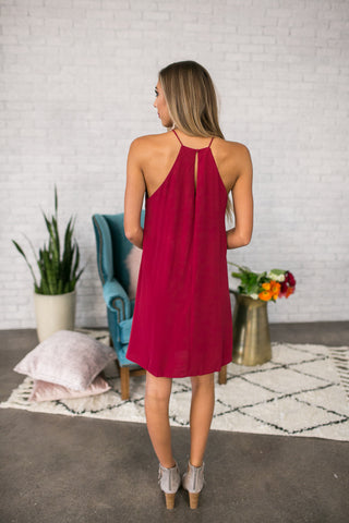 Southern Sipping Shift Dress In Crimson