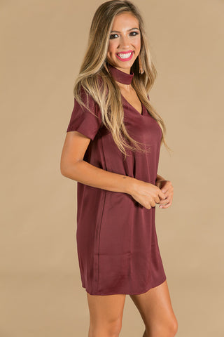 Vino Nights Shift Dress in Maroon