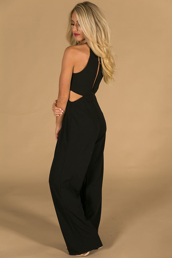Wine and Roses Jumpsuit in Black