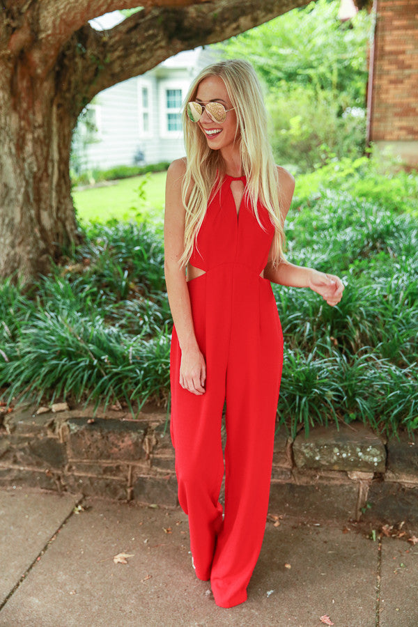 Wine and Roses Jumpsuit in Red