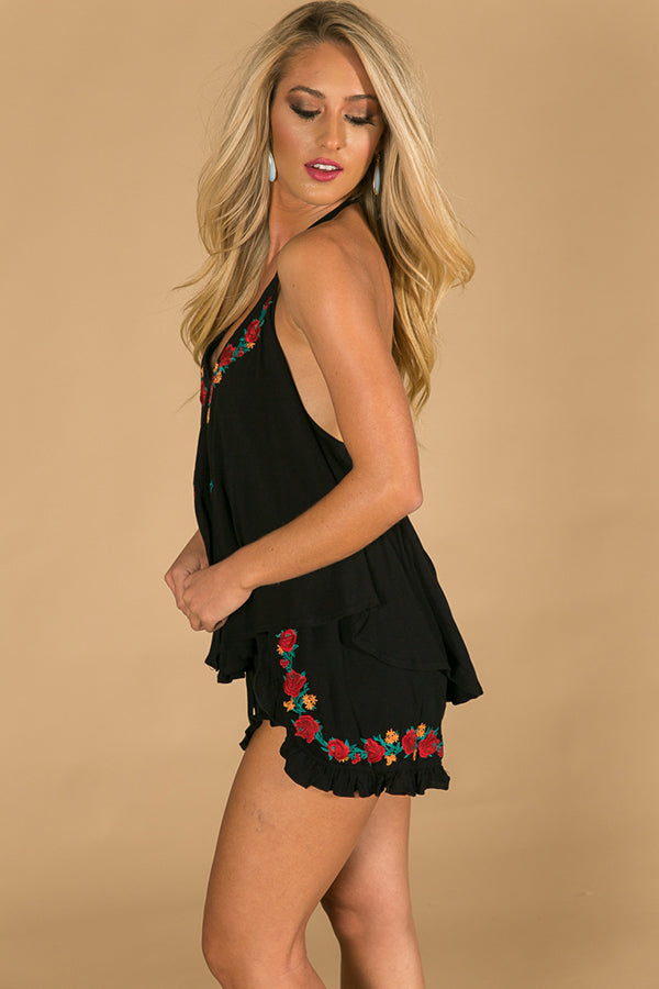 Summer Strolling Embroidered Romper in Black
