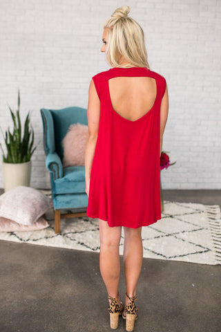 Stadium Party Shift Dress In Red