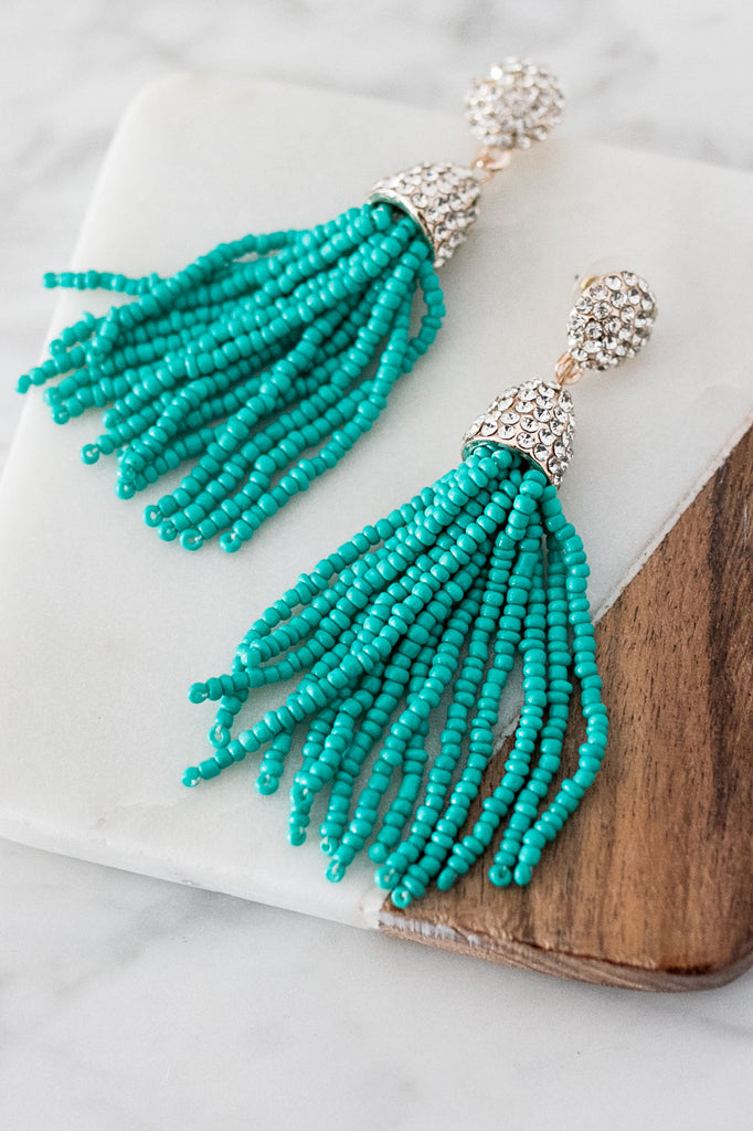 Glitz and Glam Tassel Earrings in Turquoise