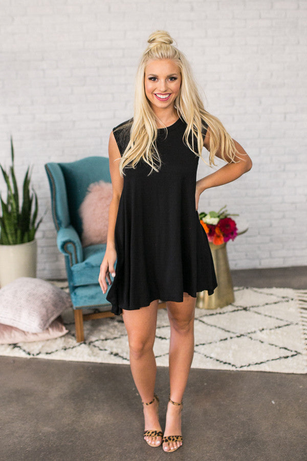 Stadium Party Shift Dress In Black