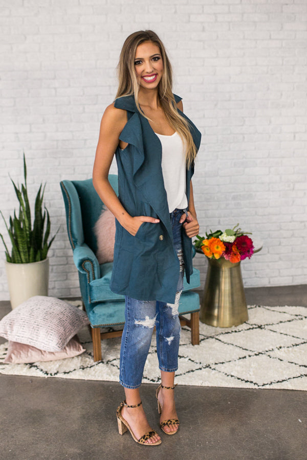 Adoring You Draped Trench Vest in Spruce