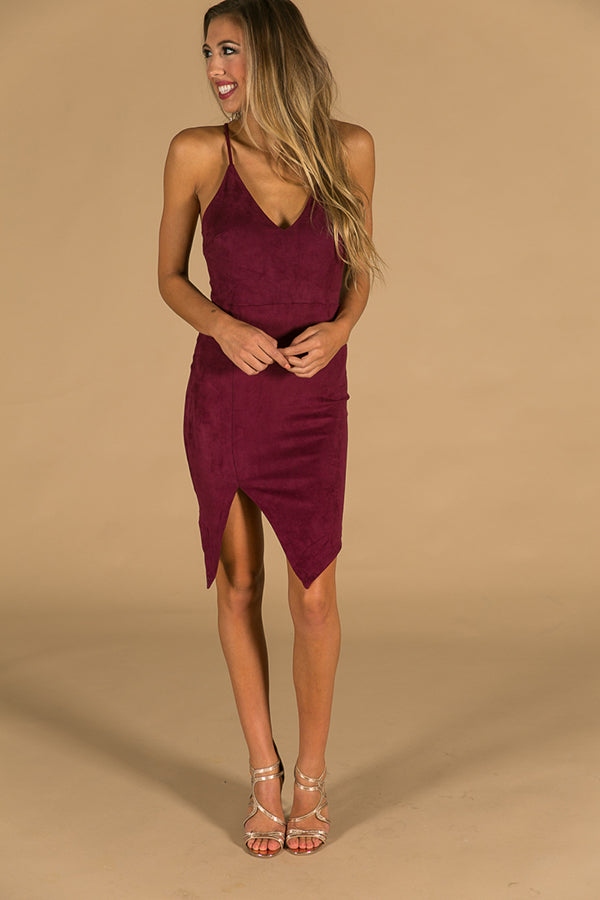 Dreaming Of Tonight Faux Suede Dress in Windsor Wine