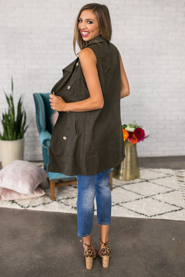 Adoring You Draped Trench Vest in Army Green