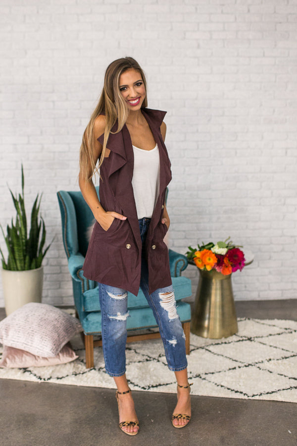 Adoring You Draped Trench Vest in Windsor Wine