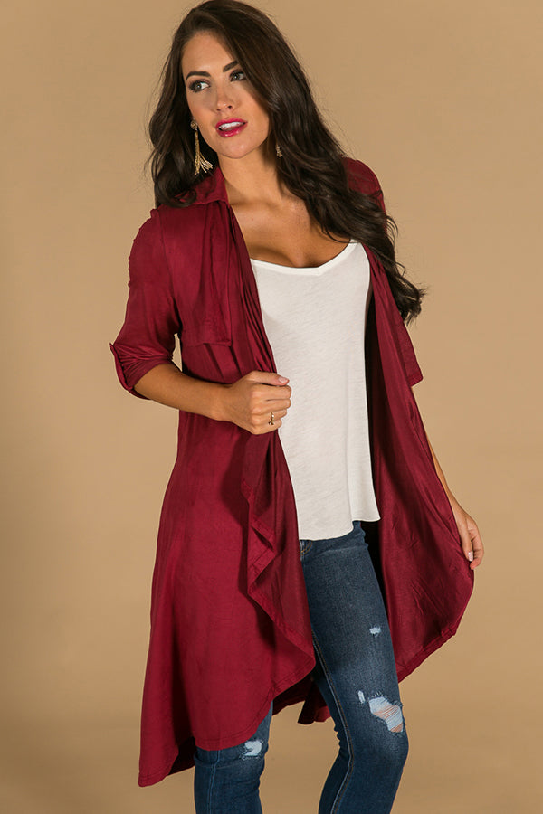 Oh So Classic Faux Suede Overlay in Wine