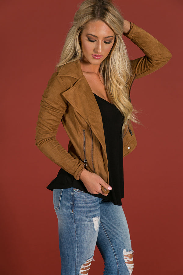 It's A Haute Thing Faux Suede Jacket in Brown