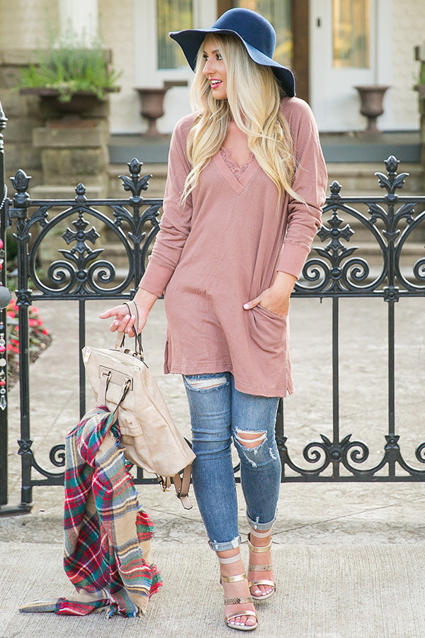 Morning Escape Tunic Sweater in Rustic Rose