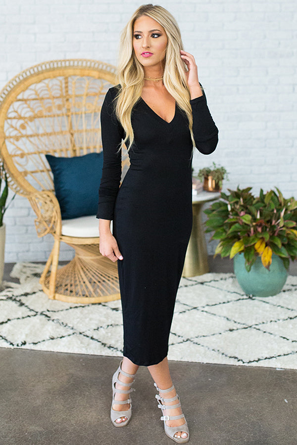 You Belong To Me Midi Dress in Black