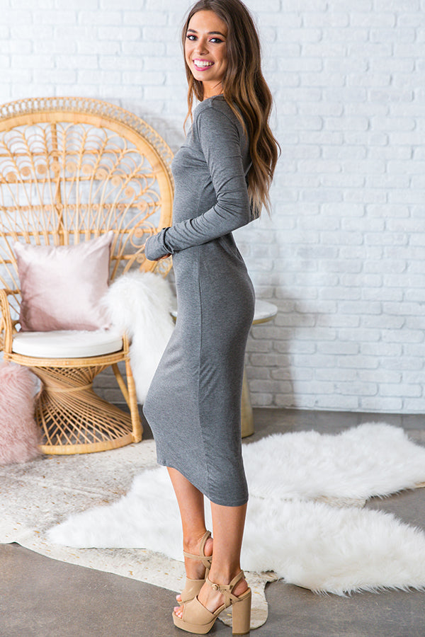 You Belong To Me Midi Dress in Dark Grey