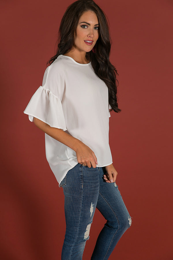 Oh So Swept Away Shift Top in White