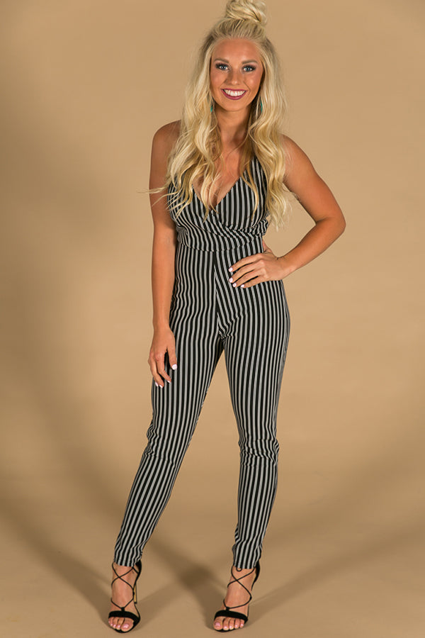 Just My Stripe Jumpsuit In Black