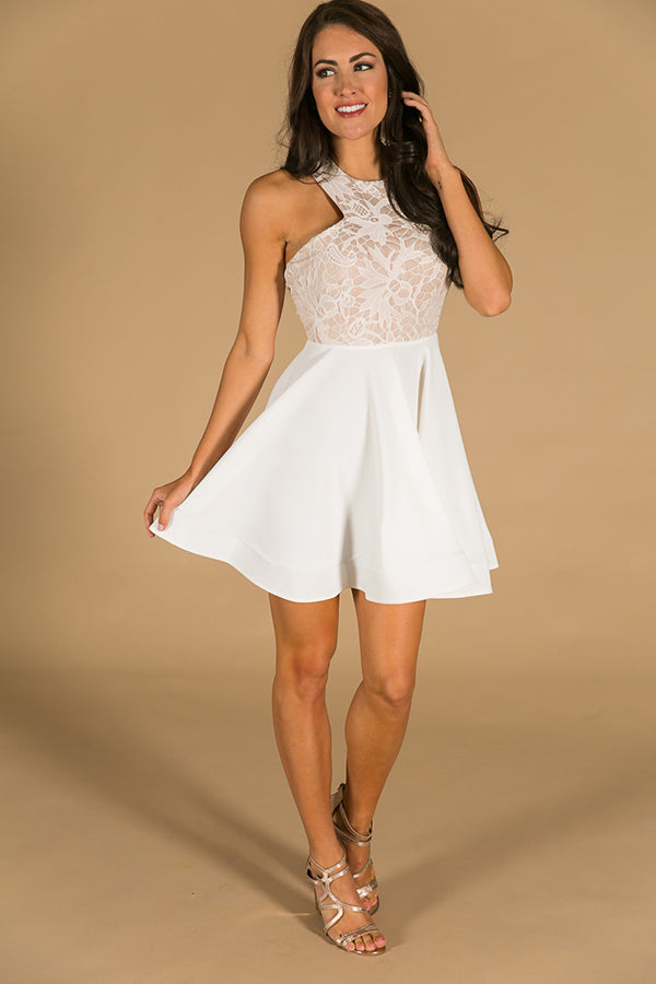 Twirl Of Your Dreams Fit And Flare Dress In White