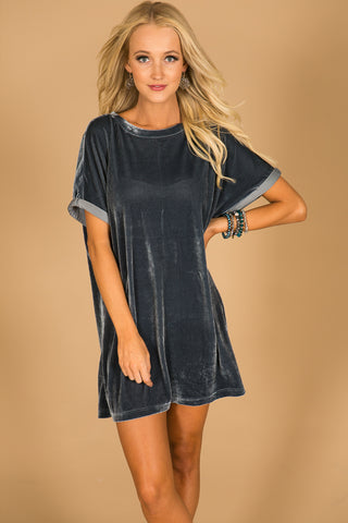 Velvet Chic Shift Dress in Slate