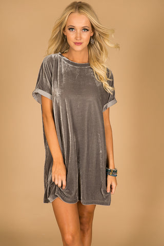 Velvet Chic Shift Dress in Grey