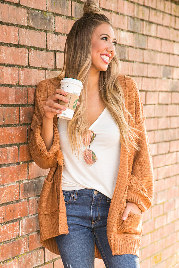 Cuddle Closer Knit Cardigan in Rust