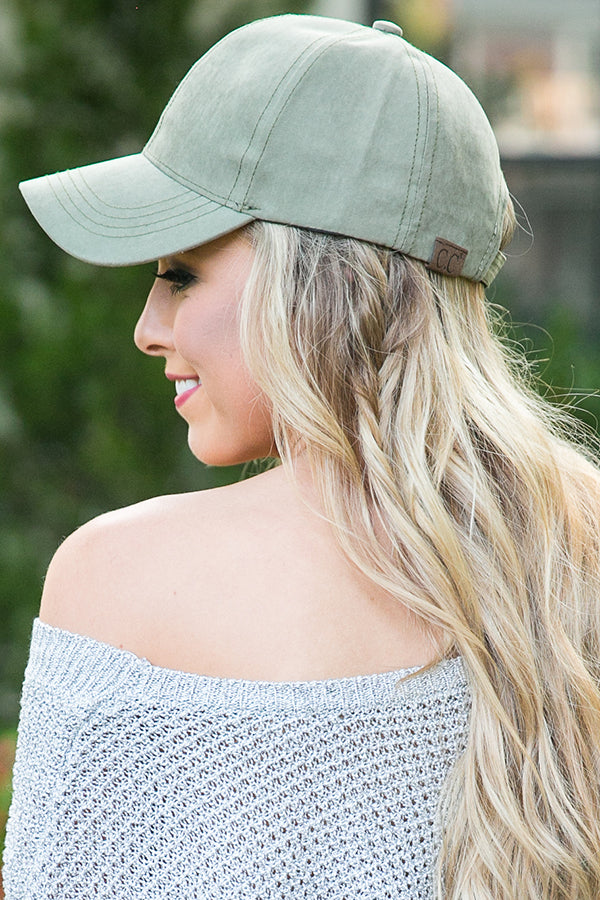 Hey Gorgeous Baseball Cap in Olive