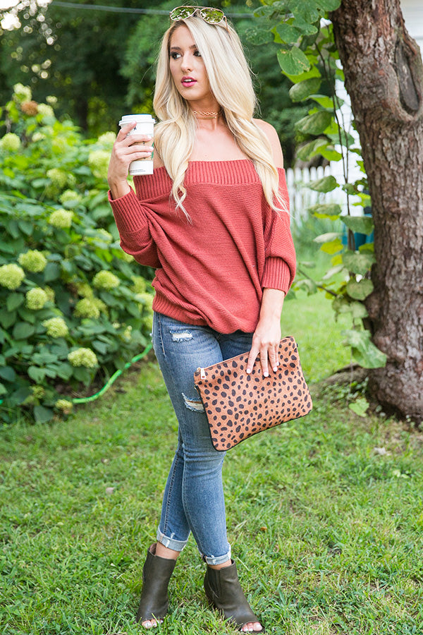 Pumpkin Spice Pretty Sweater in Aurora Red