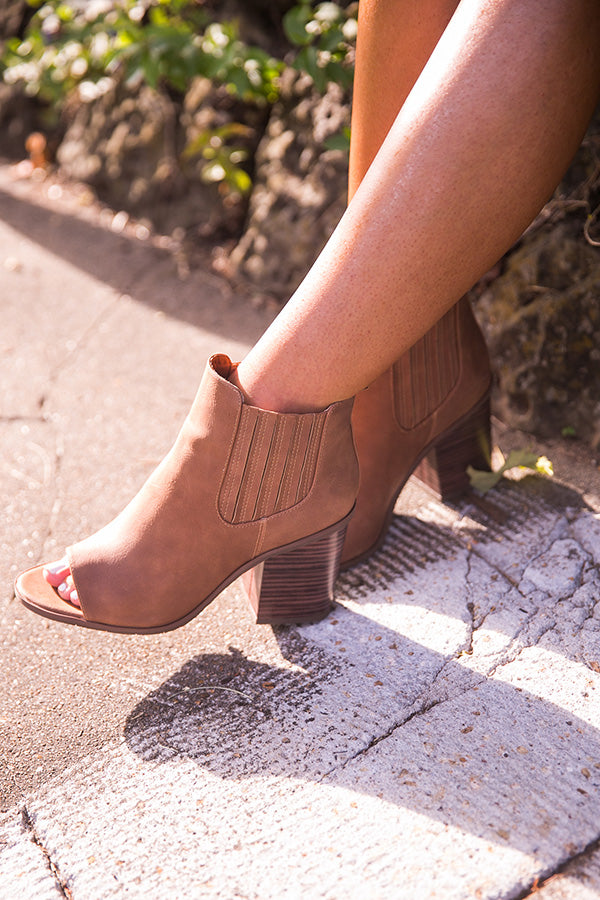 Breezy Peep Toe Bootie in Cinnamon