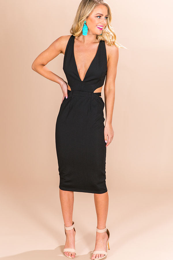 Total Vixen Midi Dress in Black