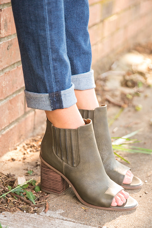 Breezy Peep Toe Bootie in Olive