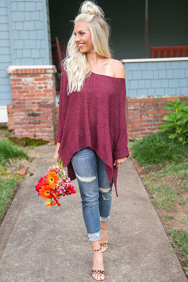 Love Me Like You Mean It Knit Sweater in Merlot