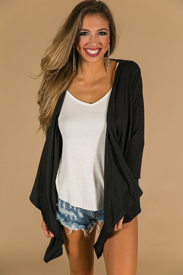 Nights In Napa Cardigan in Black