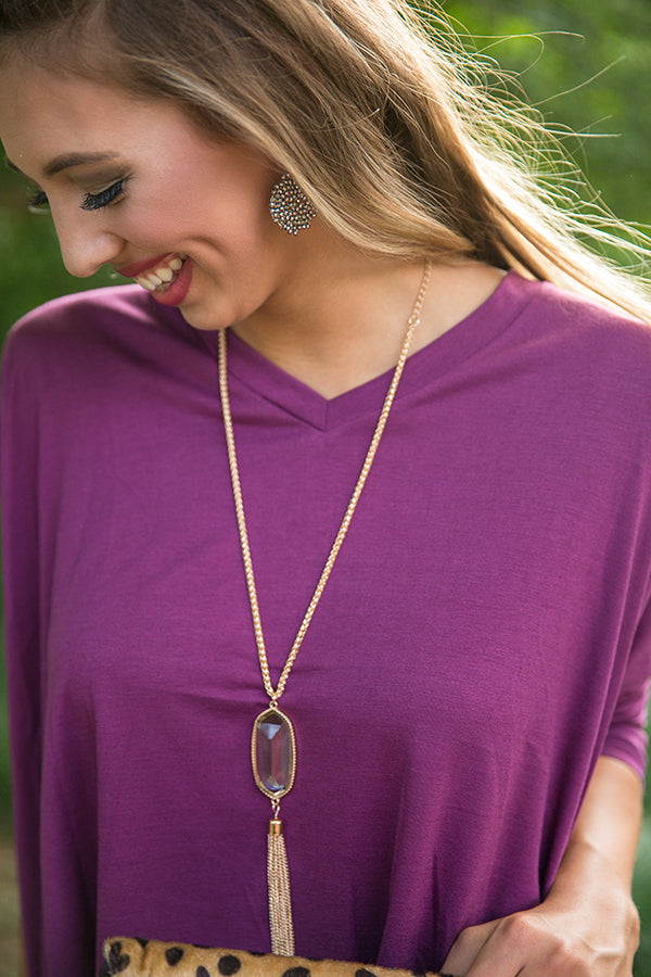 Tricks Of The Trade Tassel Necklace in Fog