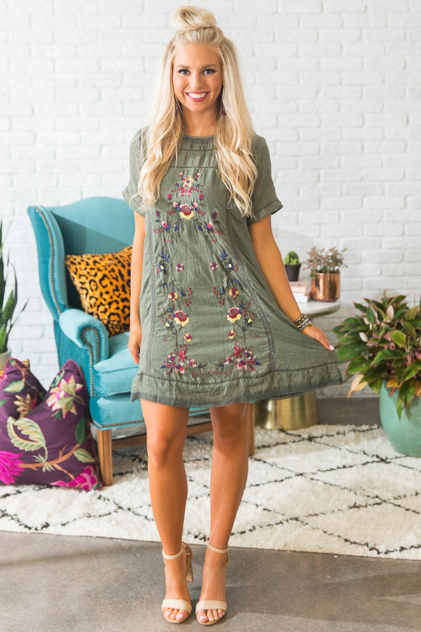 Meet Me in Paradise Shift Dress in Olive