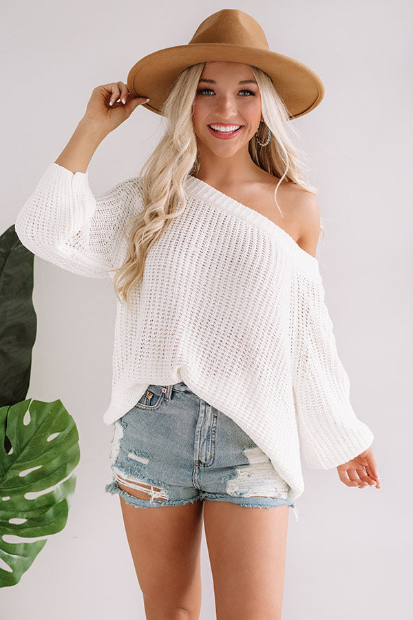 Give Me Cozy Off Shoulder Sweater in Ivory