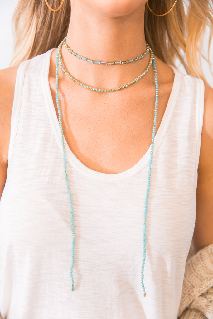 Shining In The City Choker in Aqua