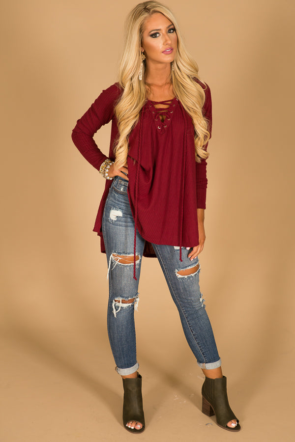 Back By Dawn Lace Up Hoodie In Merlot