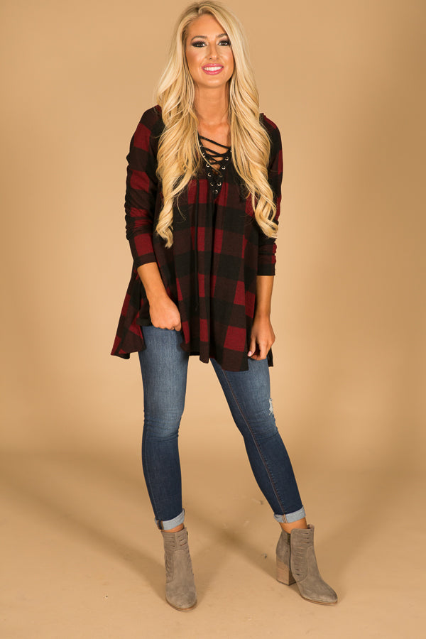 Merlot Moment Plaid Lace Up Hoodie