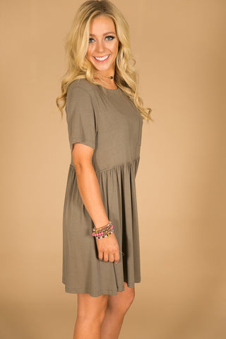 Style Session Babydoll Dress In Sage