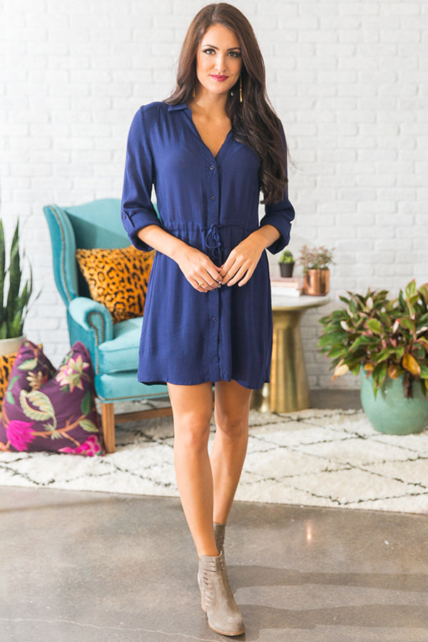 Stadium Stunner Shirt Dress in Dark Blue