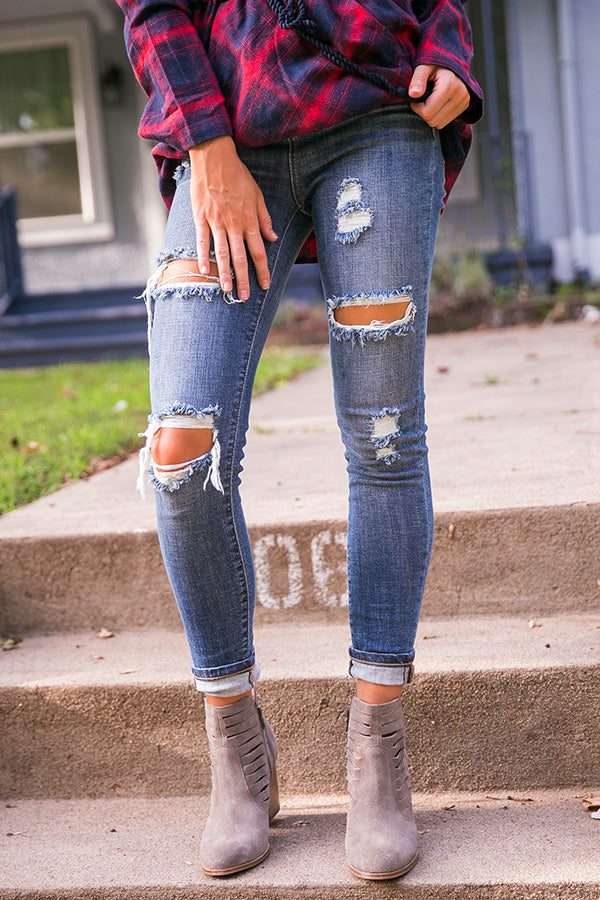 Sorry Not Sorry Distressed High Waist Skinny