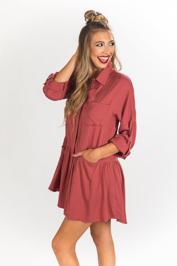 Autumn Escape Shift Dress In Aurora Red