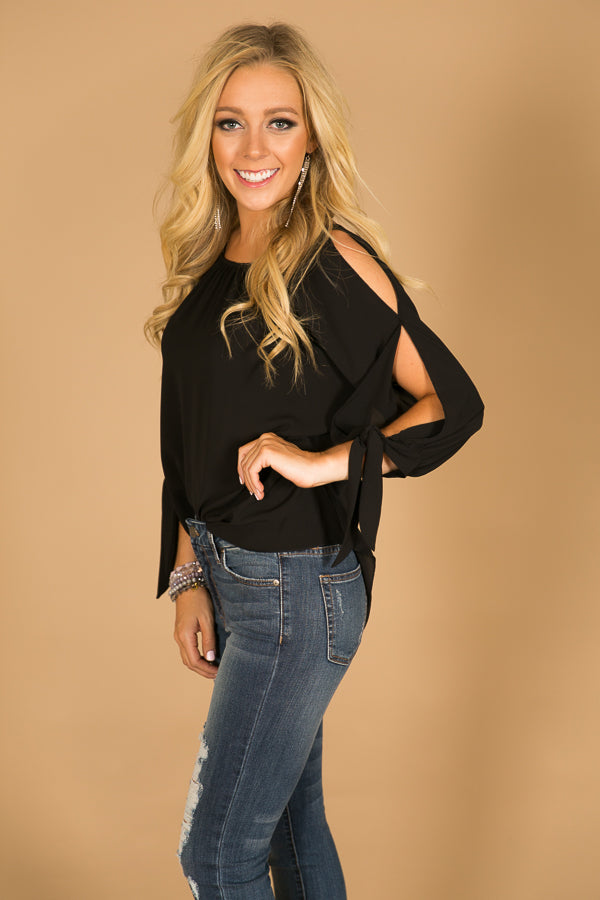 Southern Times Cold Shoulder Top in Black