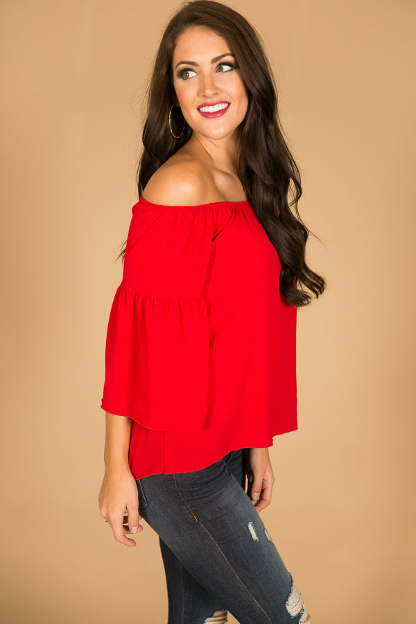 Cheering For You Off Shoulder Top in Red